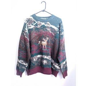 Vintage 90s Fair Isle/Deer Chunky Knit Sweater